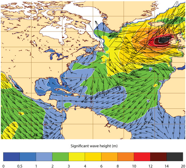 Wave height forecast for 1 February 2016