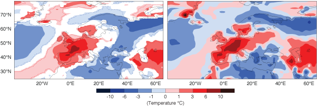 Two-metre temperature forecast and analysis