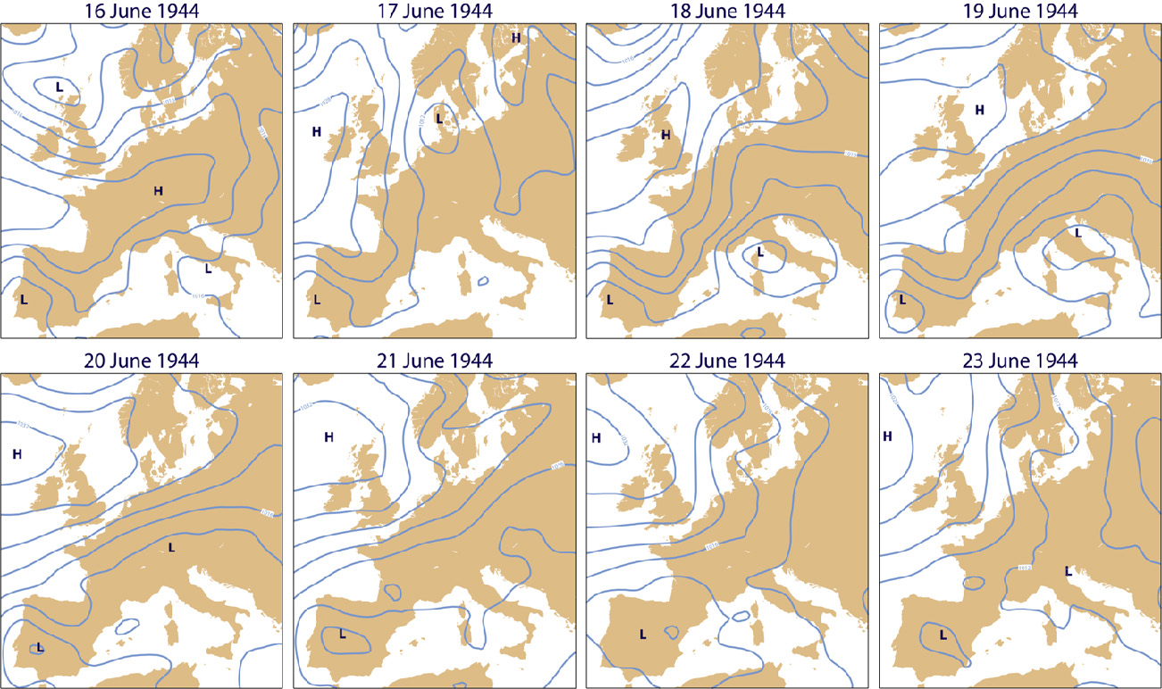 ERA-CLIM surface-pressure analyses (contour interval: 4 hPa) for 00 UTC from 16 to 23 June 1944.