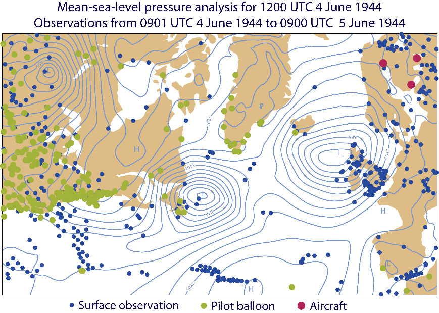 Locations of observations assimilated between 0901 UTC 4 June and 0900 UTC 5 June 1944, superimposed on the surface pressure analysis (contour interval 3 hPa) for 1200 UTC 4 June