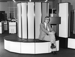 L Bengtsson with the ECMWF's first CRAY supercomputer