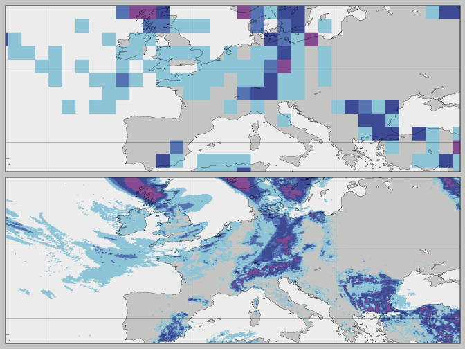 Precipitation plots at different resolutions