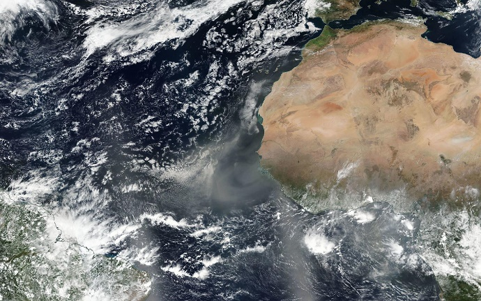 Satellite image of dust plumes off west Africa 1 March 2017