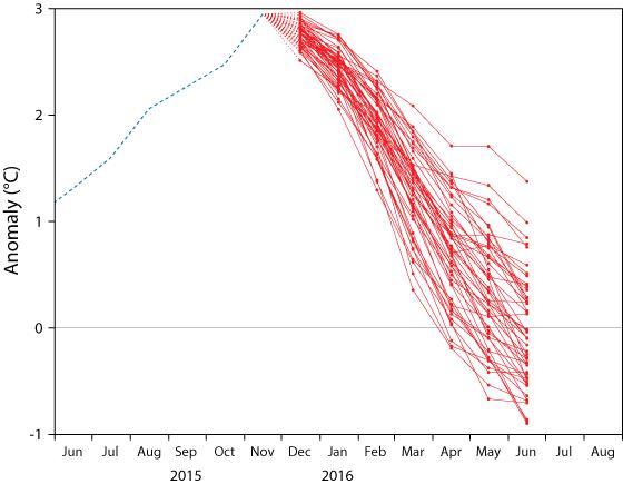 ECMWF NINO3.4 forecast plume 1 Dec 2015