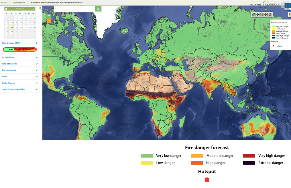 Screenshot of the Global Wildfire Information System (GWIS) beta viewer