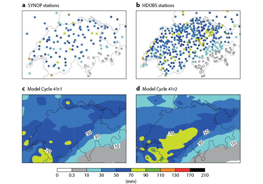 Observations and forecasts for a case of heavy precipitation in Switzerland