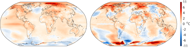 Maps of global surface air temperature anomalies