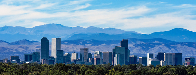 Skyline of Denver, Colorado, with Rocky Mountains