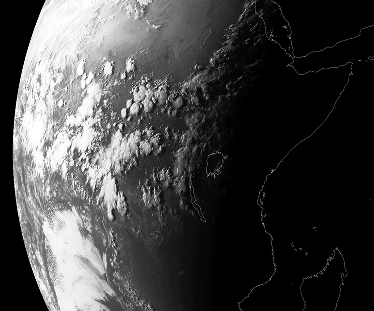 Meteosat image showing evening convection over central Africa, 16:00 UTC, 7 May 2016