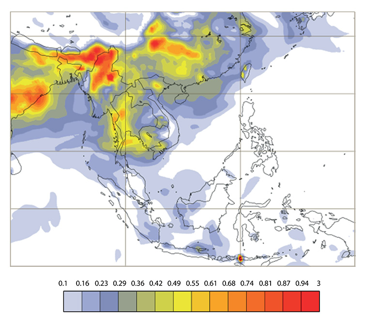 Forecast of organic matter aerosol optical depth at 550 nm, representing smoke from biomass burning emissions, from the Copernicus Atmosphere Monitoring Service (CAMS). Adapted from CAMS aerosol forecast chart for Southern Asia.