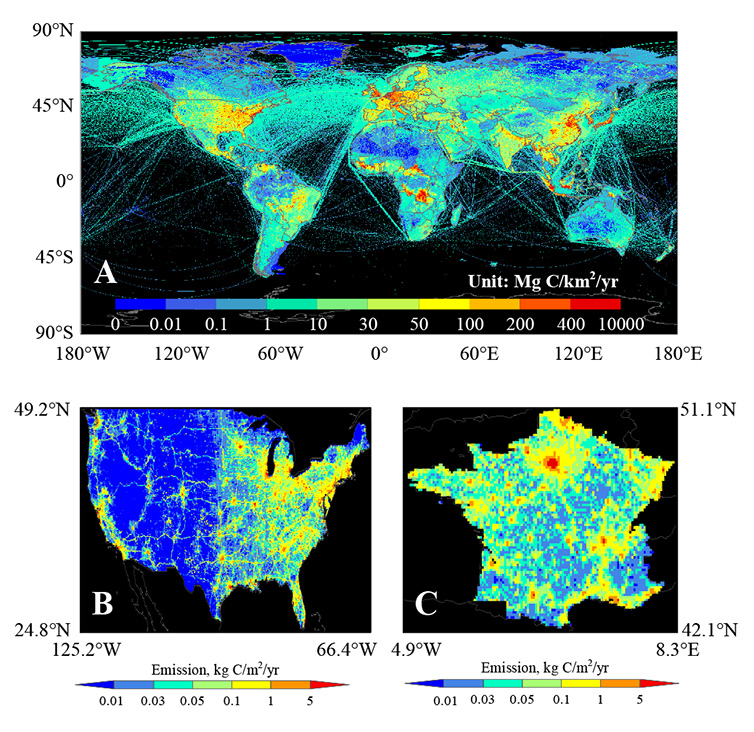 Examples of fossil fuel emission maps obtained from global/national inventories