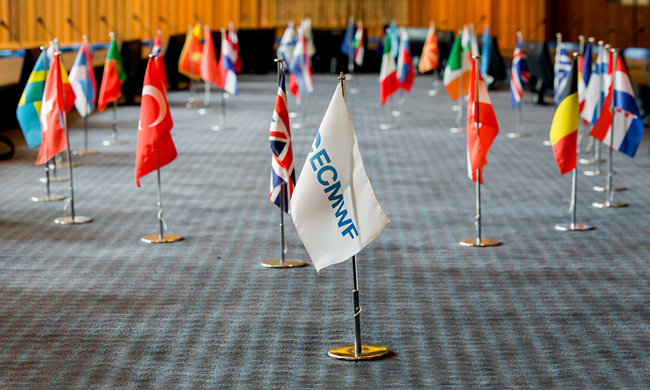 Member State flags in ECMWF Council chamber, Copyright: Stephen Shepherd