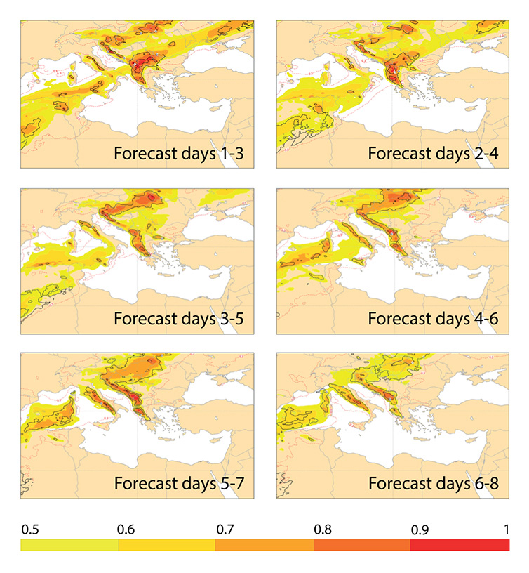 EFI and SOT for precipitation for Balkans, November 2016