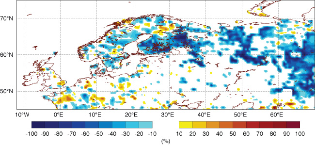 Cloud bias change in northern Europe in IFS Cycle 43r1