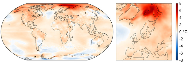 Maps of surface air temperature anomalies