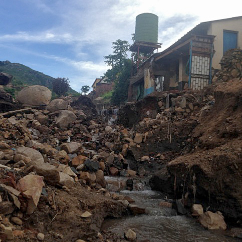 Flash flood damage in Chilobwe District, southern Malawi