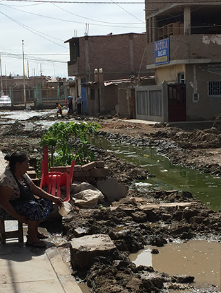 Flood-damaged road in Peru