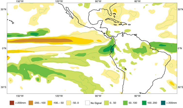 Seasonal forecast showing anomalously high precipitation in region of Peru