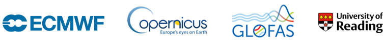 ECMWF, Copernicus, GloFAS, University of Reading logos