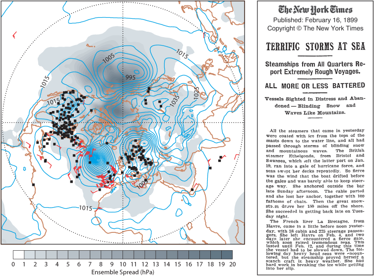 Reanalysis of a storm in the Atlantic in 1899
