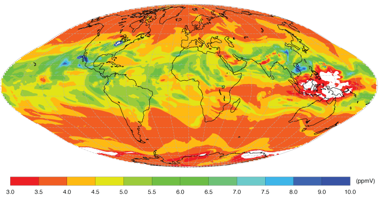 Stratospheric water vapour chart