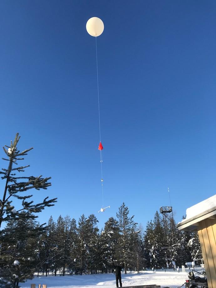 Radiosonde launch in Finland in February 2018