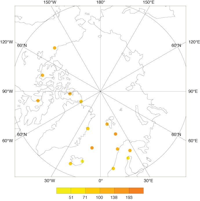 Map showing YOPP radiosonde launch locations and numbers