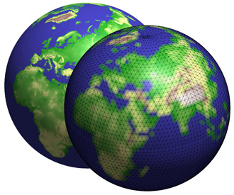 Two globes with grid-to-grid interpolation
