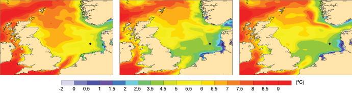 North Sea sea-surface temperature charts