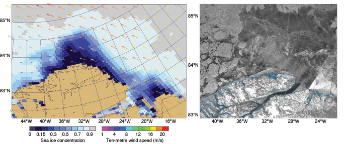 Forecast chart and satellite image of opening in sea ice off Greenland