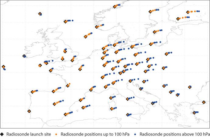 Chart showing radiosonde drift over Europe on 21 November 2016