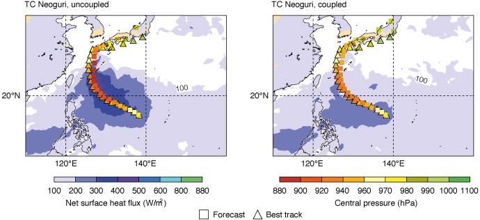 Typhoon Neoguri forecast charts showing track and intensity
