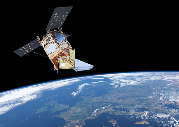 Artist's impresssion of Sentinel-5P satellite in orbit