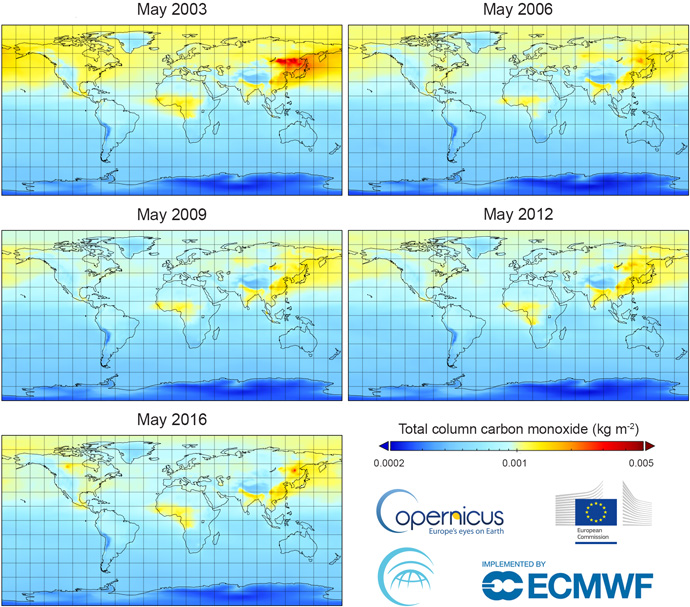 Charts based on CAMS reanalysis 2003 to 2016