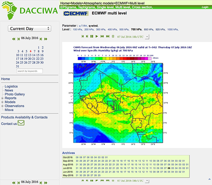 Example of a forecast plot used during the DACCIWA field campaign in June–July 2016