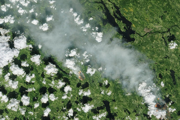 Wildfires in Sweden in July 2018