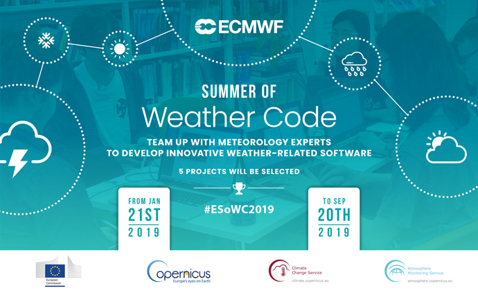 Summer of Weather Code banner with Copernicus service logos