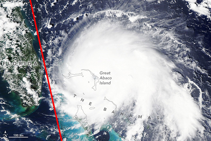Hurricane Dorian in September 2019 with Aeolus path