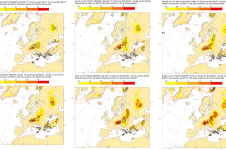 EFI extreme snowfall plots for 5 Jan 19