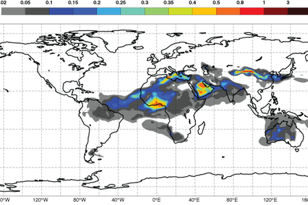 CAMS dust forecast for 6 Jan 2016