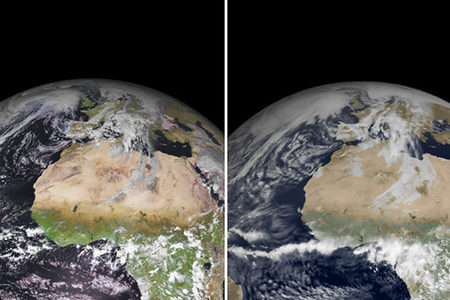 Satellite and simulated satellite images