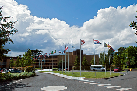 ECMWF building and flags in Reading, UK