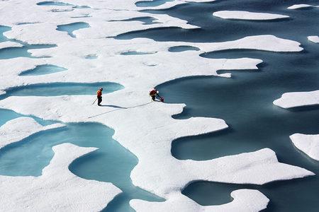 Melt ponds on sea ice