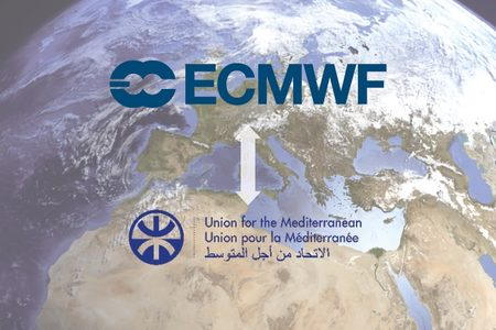 ECMWF and Union for the Mediterranean logos over image of Mediterranean