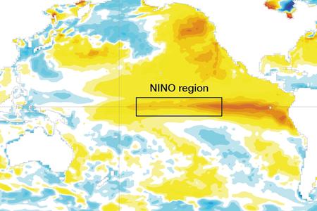 Sea-surface temperature anomaly NINO region July 2015