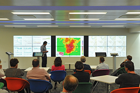 ECMWF scientists discuss the Centre's forecasts in the Weather Room