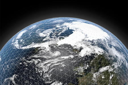 Earth from space with superimposed grid