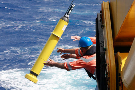An Argo float is deployed into the ocean (photo: CSIRO)