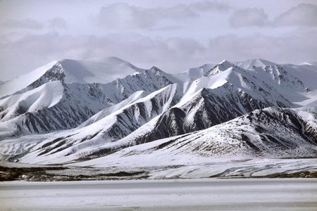 Snow-covered mountains in the Arctic