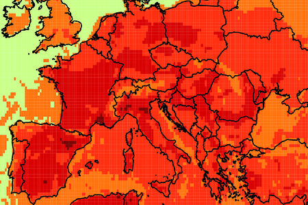 UTCI heat stress plot for Europe in June 2019